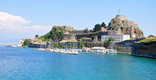 Fort and harbor in the town of Corfu, Greece Royalty Free Stock Photos