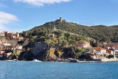 Fort heilige-Elme van Collioure, Frankrijk wordt gezien dat Royalty-vrije Stock Afbeelding