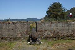 Fort historique protégeant Valdivia au Chili du sud Photo stock