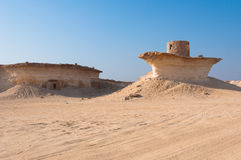 Fort i öknen av Zekreet, Qatar, Mellanösten Royaltyfria Foton
