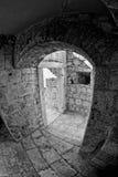 Fort interior. Fisheye image of interior of the citadel in Hvar, Croatia Royalty Free Stock Image