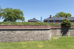 Fort Jay on Governors Island. With Manhattan in Background Royalty Free Stock Image