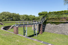 Fort Jay on Governors Island in New York City. Fort Jay Moat on Governors Island in New York City stock photography