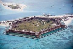 Fort Jefferson, Droge Tortugas, de mening van het noordwesten van Florida stock foto's