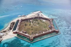 Fort Jefferson, Dry Tortugas, Florida from the northeast. Fort Jefferson was the Union blockade of the southern states about 70 miles west of Key West, Florida Stock Image