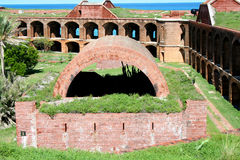 Fort Jefferson, Inner wall, battery and courtyard Royalty Free Stock Photos