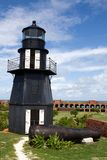 Fort Jefferson Lighthouse. Lighthouse sits atop the upper level of the wall of Fort Jefferson National Park in the Dry Tortugas, part of the Florida Keys Royalty Free Stock Photography