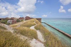 Fort Jefferson Rooftop Grass Walking Trail photographie stock libre de droits