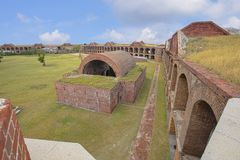 Fort Jefferson Rooftop View Of The Fort Grounds And Magazine. Fort Rooftop View Of The Fort Grounds And Detached Powder Magazine - Dry Tortugas Stock Images