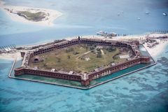 Fort Jefferson, trockenes Tortugas, Florida-Nordwestansicht Stockfotos