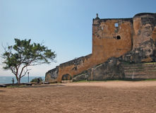 Fort Jesus - Mombasa. Defensive wall of Fort Jesus - Portuguese fort built in 1593 to guard the Old Port of Mombasa Royalty Free Stock Image