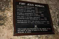 Fort Jesus Mombasa. Fort Jesus (Forte Jesus de Mombaça) is a Portuguese fort built in 1591 by order of King Philip I of Portugal (King Philip II of Spain), then Royalty Free Stock Photography