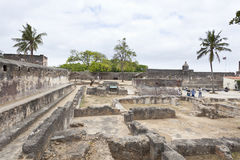 Fort Jesus in Mombasa, Kenya. Mombasa, Kenya - February 18: Ruins of the historic Fort Jesus in Mombasa, Kenya on February 18, 2013 Stock Photos