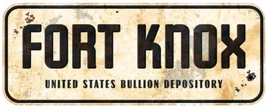 Fort Knox Sign. Retro Vintage Street Highway Road Grunge Metal Old Antique American Gold Storage Depository stock photo