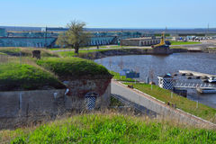 Fort Konstantin i golfen av Finland nära Kronstadt, St Petersburg, Ryssland Royaltyfri Fotografi