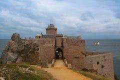 Fort La Latte on Cote de Granit Rose coast of English Channel, B Stock Image