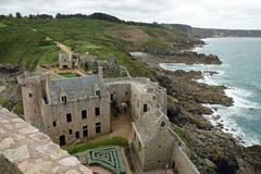 Fort la latte next to Cap Frehel in Brittany, France. Governor house from the tower. The Plevenon castle standing 196ft 60m on a rock above the sea. Built in the Stock Images