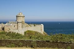 Fort la Latte in the northeast of Brittany. Impressive castle Fort la Latte was built on a small piece of land at the Baie de la Fresnaye Royalty Free Stock Photo