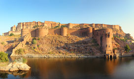 Fort and lake in Jodhpur India at sunset Stock Image