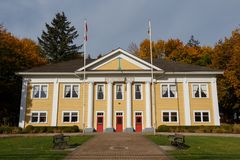 Fort Langley, Canada - Circa 2018 - Fort Langley Community Hall. 1932 stock photography