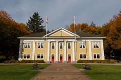 Fort Langley, Kanada - Circa 2018 - fort Langley Community Hall arkivfoto