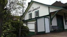 Fort Langley landmark railway. British Columbia Canada old railway station stock video footage