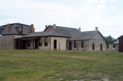 Fort Laramie Colonial Style Buildings stock image