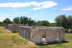 Fort Laramie National Historic Site. Ruins of three buildings at the Fort Laramie National Historic Site, Wyoming stock images