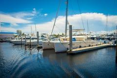 FORT LAUDERDALE, США - 11-ОЕ ИЮЛЯ 2017: Линия шлюпок показанных для продажи на выставке шлюпки Fort Lauderdale международной Стоковое Изображение RF