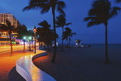 Fort Lauderdale Beach. Blvd. at night Royalty Free Stock Photo