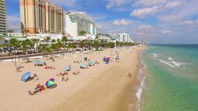 Fort Lauderdale Beach and A1A road aerial video stock footage