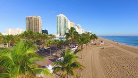 Fort Lauderdale Beach and A1A road aerial video stock video