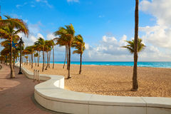 Fort Lauderdale beach sunrise Florida US. Fort Lauderdale beach morning sunrise in Florida USA palm trees Royalty Free Stock Image