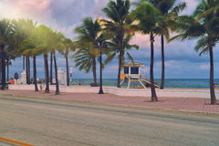 Fort Lauderdale Beach. Sunrise Beach in Ft.Lauderdale with palm trees and beach entry feature Royalty Free Stock Images