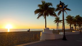 Fort Lauderdale beach on sunrise. Raw video source stock footage