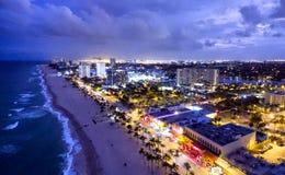 Fort Lauderdale di notte, vista aerea Fotografia Stock