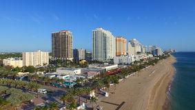 FORT LAUDERDALE - FEBRUARY 25, 2016: City aerial skyline on a su. Nny morning. Fort Lauderdale is a preferred tourist destination Royalty Free Stock Photography
