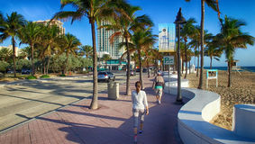 FORT LAUDERDALE - FEBRUARY 25, 2016: Promenade along the sea. Fo Stock Image