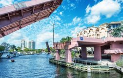 FORT LAUDERDALE, FL - FEBRUARY 29, 2016: Beautiful drawbridge al Royalty Free Stock Photography