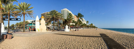 FORT LAUDERDALE, FL - FEBRUARY 2016: Panoramic view of Fort Laud. Erdale beach promenade. This is a famous Florida destination Royalty Free Stock Photos