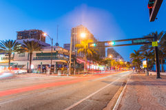 FORT LAUDERDALE, FL - JANUARY 10, 2016: City night life at dusk. Royalty Free Stock Photo