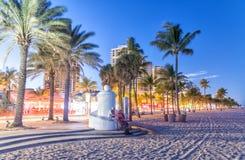 FORT LAUDERDALE FL, STYCZEŃ, - 2016: Deptak wzdłuż oceanu przy Obraz Royalty Free