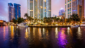 Fort Lauderdale, Florida City Skyline at Night on New River Royalty Free Stock Photography