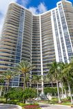Front of Modern Condos on Intracoastal. FORT LAUDERDALE, FLORIDA - February 24, 2018: A Modern Condo Building on the Intracoastal Waterway in Fort Lauderdale stock image