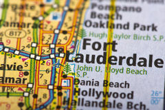 Fort Lauderdale, Florida on map. Closeup of Fort Lauderdale, Florida on a political map of the United States royalty free stock photos