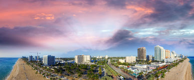 Fort Lauderdale, Florida. Sunset aerial panoramic view Stock Images