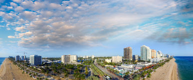 Fort Lauderdale, Florida. Sunset aerial panoramic view Royalty Free Stock Images