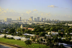 Fort Lauderdale, Florida, USA, Skyline. The Fort Lauderdale, Florida, USA, skyline. Luxury homes are in the foreground. Across the  middle is a highway bridge Stock Photo