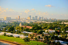 Fort Lauderdale, Florida, USA, Skyline. The Fort Lauderdale, Florida, USA, skyline with the residential area in the fore ground and a bridge curving across the Stock Images