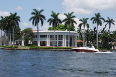 Fort Lauderdale historic white house with boat Royalty Free Stock Images